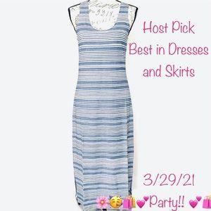 Lysse Mulholland Tank Top Stripe Midi Dress Blue M